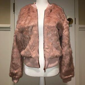 Charlotte Russe pink/rose gold faux fur jacket 🦩